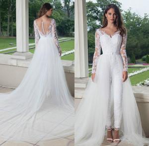 2020 скромный комбинезон свадебные платья развертки поезд верхняя юбка V образным вырезом с длинными рукавами иллюзия кружева аппликация свадебное платье vestido де novia