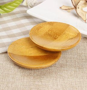 DHL natural bamboo small round dishes Plates Rural amorous feelings sauce and vinegar plates Tableware plates tray Nd