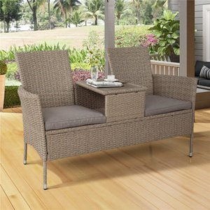SONYI Outdoor Rattan Furniture Patio Conversation Set 2-Person Chat Set Wicker Sofas with Removable Cushions and Wood Coffee Table for Back
