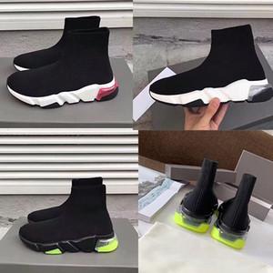 2020 Femmes Vitesse Graffiti semelle transparente Formateurs Triple stretch Mesh Sock Bottes Hommes Knit Chaussures Air Mode Chaussures de course 6 couleurs US5-11.5