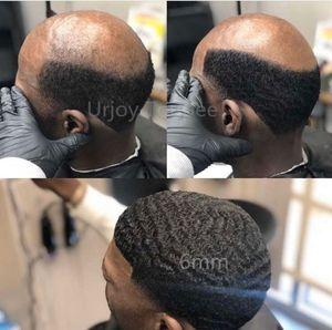 Peluca para hombre 4mm / 6mm / 8mm / 10mm / 12mm Afro ola de pelo Afro Lace Toupee Chinese Virgin Human Hair 360 Wavy Hair Reemplazo envío gratis