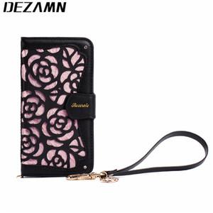 Pour iPhone 8 X 7 5S SE 5 3D Creux Rose Floral Bijoux En Cuir Flip Case Anti-vol Swiped Carte Anti-RFID Anti-NFC Couverture De Sac À Main