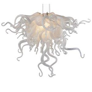 يدويا من الزجاج المنفوخ الثريا أبيض إضاءة مصباح الظل الزفاف آرت ديكو LED لمبات قلادة الحديثة أضواء الثريا-L