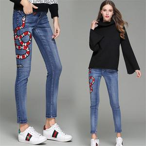 Womens Jeans Pant pantaloni dei jeans alla moda di modo Red Snake Little Bee ricamo nuovo arrivare pantaloni di alta qualità