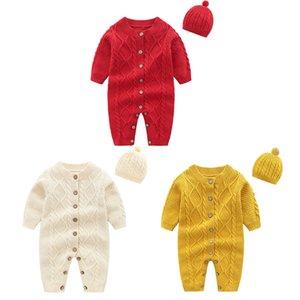 orangemom fashion knitting jumpsuit + caps for girls baby christmas clothes unisex new year gift newborn baby boy romper twins V191112