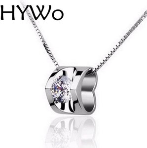 HYWo Chainless Pendant 925 sterling silver New arrival necklace lady's Clear CZ pendant jewelry wholesale+True love Valentines gift