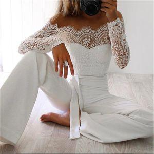 Новые Женщины Кружева Цветочные белый цвет с длинным рукавом комбинезона Romper Clubwear Bodycon партии легкий костюм с шортами Брюки женский