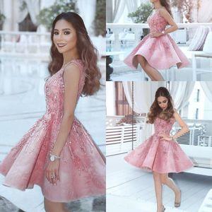 Sexy Cocktail Dresses Rosa Decote Em V Beading Applique Cristal Árabe Africano Na Altura Do Joelho Curto Homecoming Prom Vestido de Festa de Formatura Desgaste Do Clube