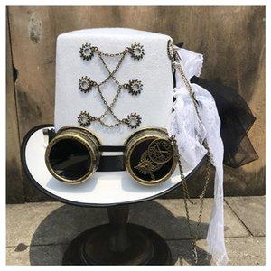 المرأة ريترو اليدوية Steampunk قبعة مع جير نظارات والرباط المرحلة ماجيك هات الأداء أبيض حجم 57CM Steampunk