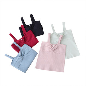 Girls Twist Rib Braces Tops Summer 2020 Children Boutique Clothing 1-4T Girls Solid Color Casual Tops