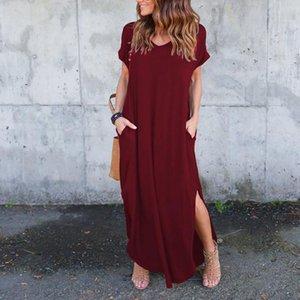 Plus Size 5XL Sexy Women Summer Dress Women's Casual Loose Pocket Long Dress Short Sleeve Split Maxi Dresses