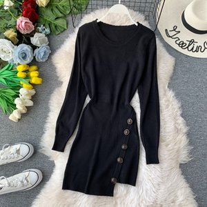 Chic Women Bodycon Dress Autumn Winter 2020 New Fashion Side Buttons Long Sleeve Short Dress Knitted Women Black Dress