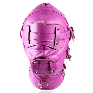 Neue Fetisch Rot PU Leder Harness voll BDSM Bondage Völlig Eingeschlossen Haube Maske mit Schloss Slave Spiele Cosplay Festival Rave