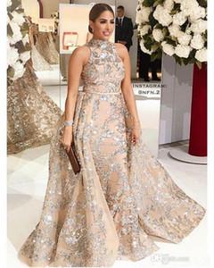 Apliques de lantejoulas Sereia Overskirt Vestidos de noite 2019 New Yousef Aljasmi Dubai Árabe Alta Neck Plus Size Ocasião Prom Party Dress 229
