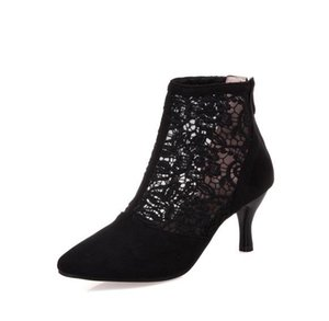 Plus size 34 to 40 41 42 43 sexy black lace bud silk pointed mid heel dress shoes Come With Box