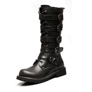 Size37-46 Army Men Boots Военные сапоги 2019 Кожа зима ботинок черный ковбой снег Металл Gothic Punk сапоги Мужчины обувь мотоциклов