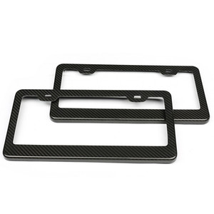 Real Carbon Fiber License Plate Frame 2 Hole Black Gloss Car Tag and Stainless Steel License Plate Frame Screws for USA License Plate Frame