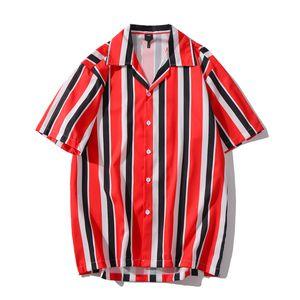 Rosso Nero retro banda camice donne degli uomini Turn-down Collar Hip Hop T-shirt manica corta Hawaii shirt uomo