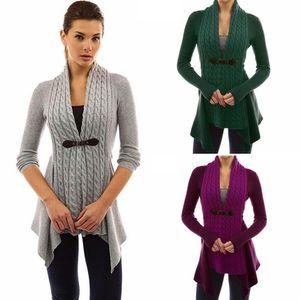 Kadın Toka Örgü Ön Hırka Triko 6 Renkler Sıcak Kazak Sonbahar Uzun Kollu Casual Slim Annelik Dış Giyim OOA6036