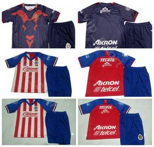 19-20 Futebol Chivas Guadalajara 14 Anjo Zaldivar Jersey Conjunto 7 Orbelin Pineda 17 Jesus Sanchez Garcia 3 Carlos Salcido Kits de Camisa De Futebol