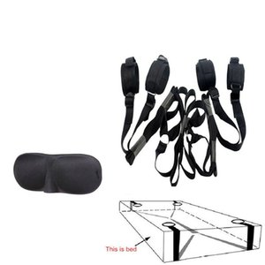 BDSM Bed Sistema de Restrição Bondage, Sob o pulso Bed and Ankle Cuff Restraint Kit Tie plano, Máscara Halloween, Adult Sex Toys