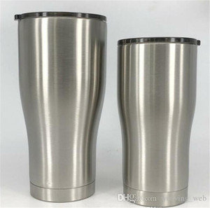 USA EN STOCK !! 20 oz 30 oz recourbée verre tumbler acier inoxydable café tasse de bière à double paroi à isolation sous vide Tasse Voyage avec couvercle anti-éclaboussures