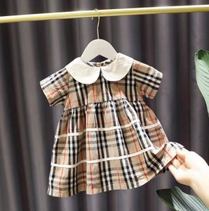 Summer girls plaid dresses preppy style kids doll lapel short sleeve dress children cotton lattice dress designer style kids clothes A3088