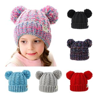 Warm Crochet Baby Hats With Poms For Girls Knitted Winter Baby Caps For Boys Colorful Baby Turban Beanie Autumn Kids Headwear