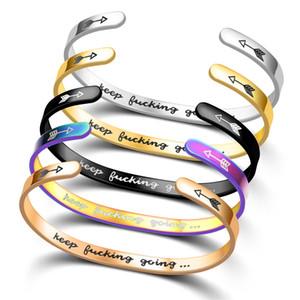 Вдохновенный браслеты для женщин, из нержавеющей стали с гравировкой персонализированный Положительный Mantra Quote Keep Going манжета браслет окончания колледжа для