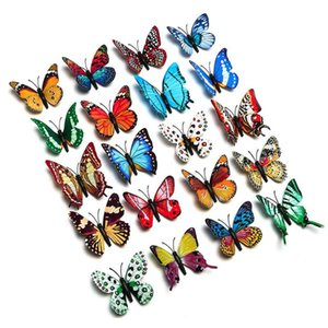 4pcs PVC 3D Butterfly Wall Stickers Simulated Animal Stickers Luminous Butterflies Decals Home Art Decoration Accessories