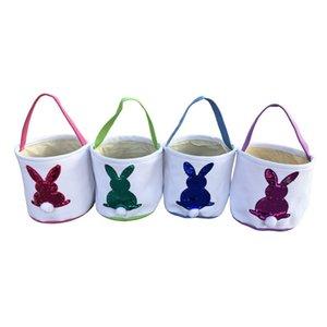 Блестки Easter Bunny Basket Холст Easter Bucket Симпатичный кролик конфеты Tote сумки с Tail Дети сумки DIY Easter подарков партии украшения 2020