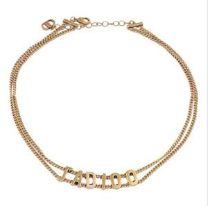 Moda letra D de doble cadena 2109 última retro clavícula cadena de collar de alta calidad entrega rápida