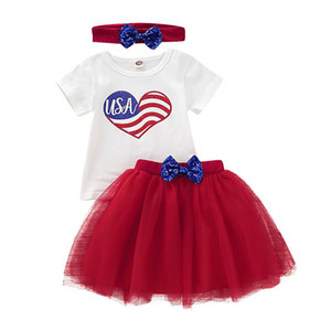 Baby Girl Skirt Set Bandiera americana Independence National Day USA 4 luglio Red Love Letter Stampa con striping Toddler TUTU Gonna con fascia