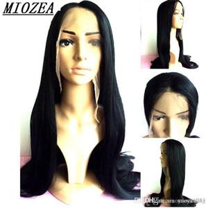 noir cheveux naturels longue perruque synthétique droite avant de dentelle perruque 90cm haute température fibre Livraison gratuite