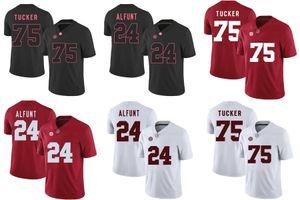Fabbrica Outlet- Sconto Jersey Alabama ALFUNT 24 TUCKER 75 College Football Jersey, formato S - 3XL, ricamo e cucito Logos