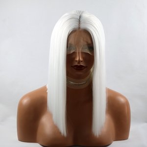 Sexy Cosplay White Color Synthetic ace Front Wig Short Straight Bob Wig with Baby Hair Middle Part Short Hair For Women