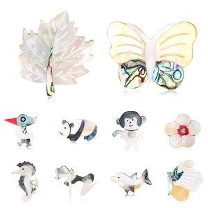 Shell naturale Spille Lampuga Seahorse Ape farfalla Gufo Picchio Pigeon Spilla Pins Matrimonio Spille Bouquet animali