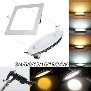 Downlights 24W 18W 15W Round Square incasso ultra sottile acrilico Emitting SMD2835 per l'ospedale di alluminio laterale Ufficio Soggiorno EUB