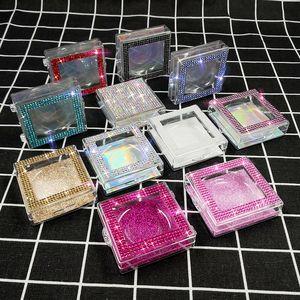 Nueva venta al por mayor cuadrado Diamante Falso Pestañas Packaging Box Fake 10mm-25mm 3D visón Pestañas cajas Diamond Case Lestes vacíos