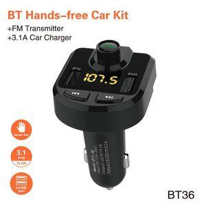 وزير الخارجية الارسال BT36 بلوتوث عدة السيارة يدوي سيارة مشغل MP3 مع شاحن سيارة 3.1A سريع المسؤول المزدوج USB