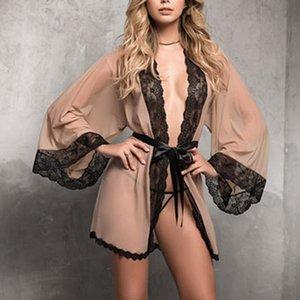 Bateau libre maille Grande dentelle Robe Taille Femmes Robe en dentelle perspective couleur unie sexy femmes attirantes,