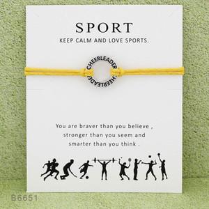 Cheerleader SPORT Artesanal Corda Charme Pulseiras para Mulheres Homens Declaração de Amizade Melhor Desejo Presente Da Jóia Com Cartão