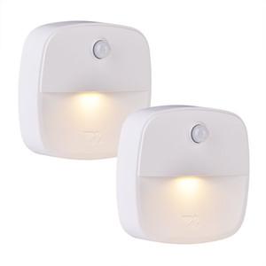 Mini LED sem fio Sensor Night Light Lâmpada PIR infravermelho ativada movimento sensor de luz para a lâmpada do armário de parede Escadas Luzes