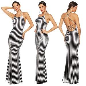 Frauen schwarz-weiß gestreifte Hänge Bo Lace-up reizvolles Backless Kleid Abendkleid Temperament Kleid