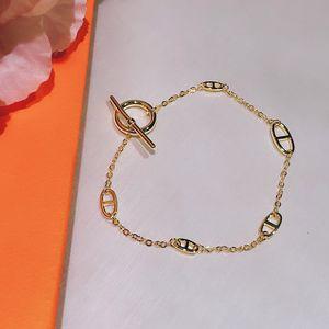 Hot Brand For Women Letter Round H Lock Jewelry S925 Silver Bracelet Set France Quality Golden Gold Superior quality Bracelet