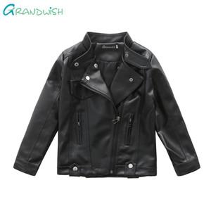 Grandwish meninos outono casaco de couro crianças pu jaqueta de couro meninas primavera jaqueta crianças sólidos outerwear casuais 4 t-12 t, jc047