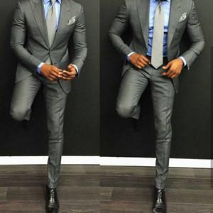 Deux boutons smokings marié clair gris pointe revers garçons d'honneur meilleur costume homme costumes de mariage pour hommes (veste + pantalon)
