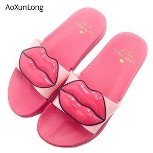 AoXunLong Verão Mulheres Slides Adorável Red Lips Praia Chinelos de lazer ao ar livre Mulheres Chinelos Eu 36/40 Tamanho Indoor Início