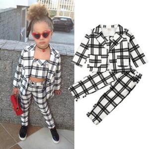 3Pcs Mode Kinder Klage-Kind-Baby-Herbst-Winter-Kleidung Sets 1-6Y karierte Jacken-Mantel-Crop Tops Hosen Outfits