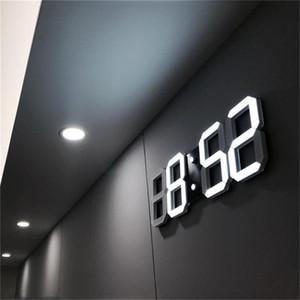 Reloj despertador LED 3D Mesa digital moderna Reloj de pared de escritorio Luz nocturna Saat Pared para la sala de estar en el hogar Oficina 24 o 12 horas